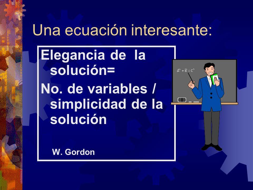 Una ecuación interesante: Elegancia de la solución= No. de variables / simplicidad de la solución W. Gordon