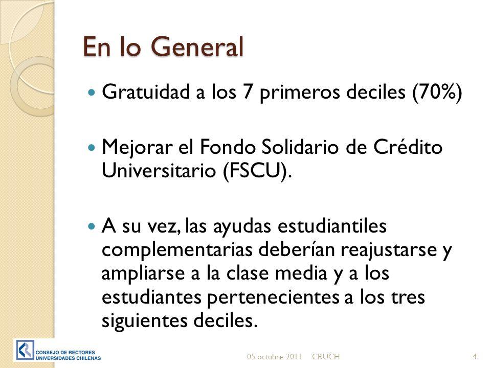 En lo General Gratuidad a los 7 primeros deciles (70%) Mejorar el Fondo Solidario de Crédito Universitario (FSCU).