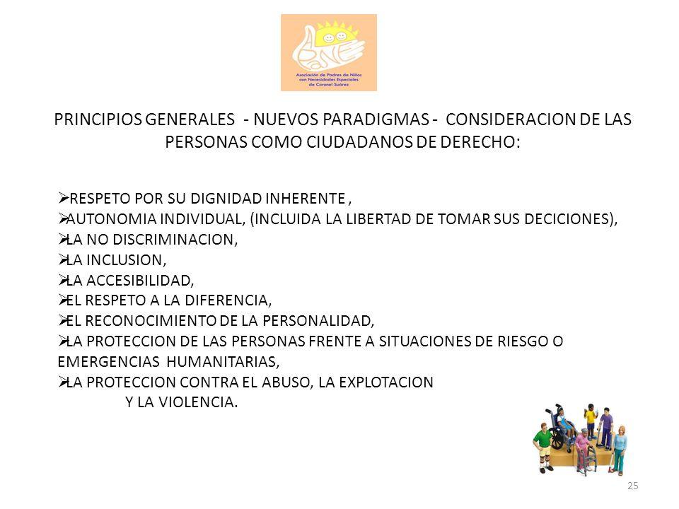 PRINCIPIOS GENERALES - NUEVOS PARADIGMAS - CONSIDERACION DE LAS PERSONAS COMO CIUDADANOS DE DERECHO: RESPETO POR SU DIGNIDAD INHERENTE, AUTONOMIA INDI