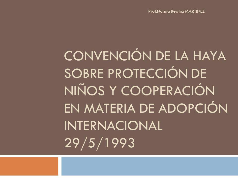 CONVENCIÓN DE LA HAYA SOBRE PROTECCIÓN DE NIÑOS Y COOPERACIÓN EN MATERIA DE ADOPCIÓN INTERNACIONAL 29/5/1993 Prof.Norma Beatriz MARTINEZ