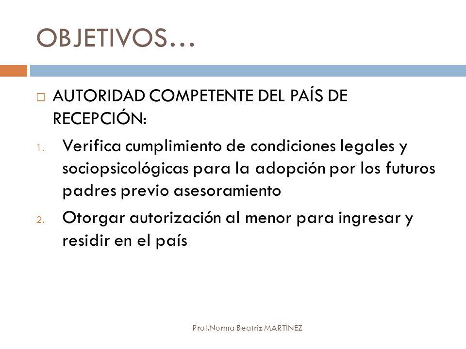 OBJETIVOS… Prof.Norma Beatriz MARTINEZ AUTORIDAD COMPETENTE DEL PAÍS DE RECEPCIÓN: 1. Verifica cumplimiento de condiciones legales y sociopsicológicas