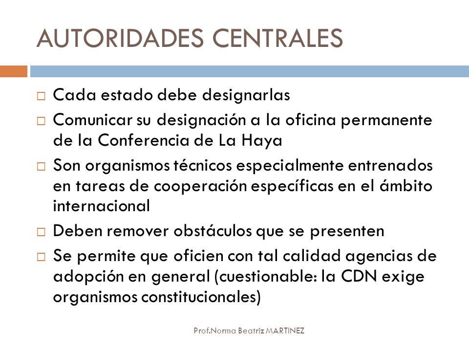 AUTORIDADES CENTRALES Prof.Norma Beatriz MARTINEZ Cada estado debe designarlas Comunicar su designación a la oficina permanente de la Conferencia de L