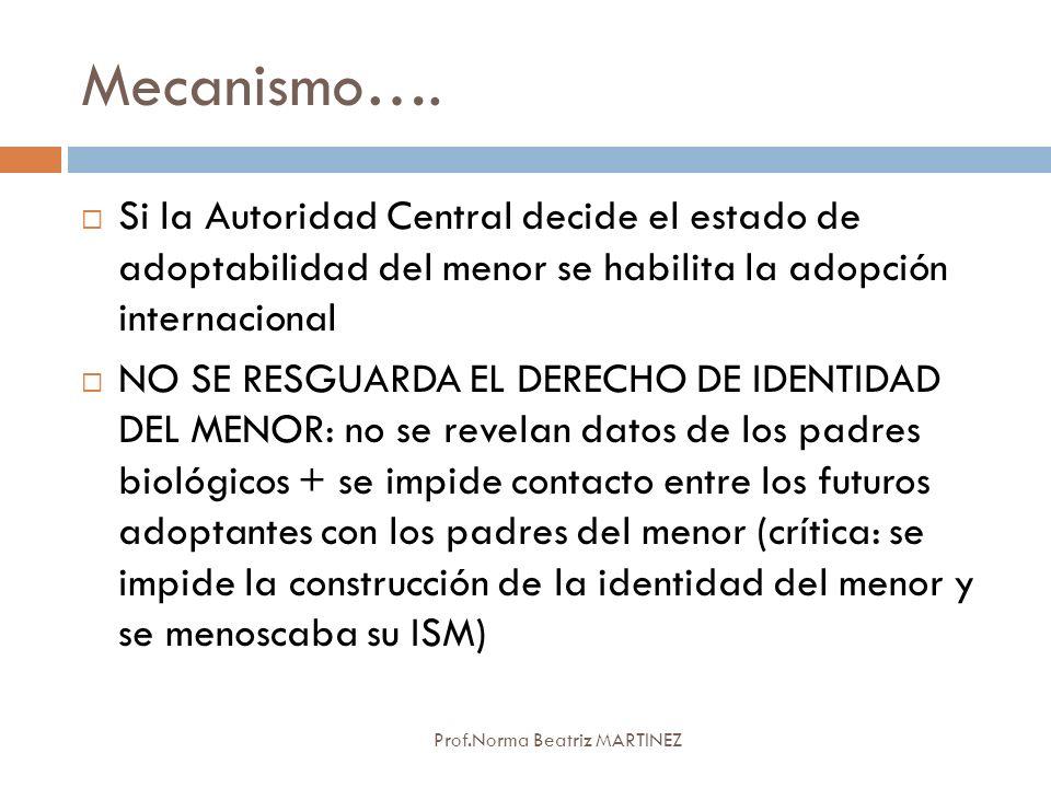 Mecanismo…. Prof.Norma Beatriz MARTINEZ Si la Autoridad Central decide el estado de adoptabilidad del menor se habilita la adopción internacional NO S