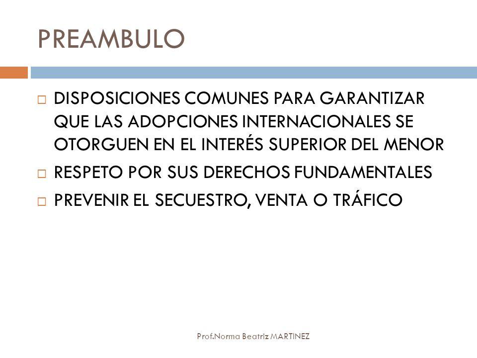 PREAMBULO Prof.Norma Beatriz MARTINEZ DISPOSICIONES COMUNES PARA GARANTIZAR QUE LAS ADOPCIONES INTERNACIONALES SE OTORGUEN EN EL INTERÉS SUPERIOR DEL