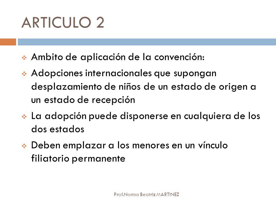 ARTICULO 2 Prof.Norma Beatriz MARTINEZ Ambito de aplicación de la convención: Adopciones internacionales que supongan desplazamiento de niños de un es
