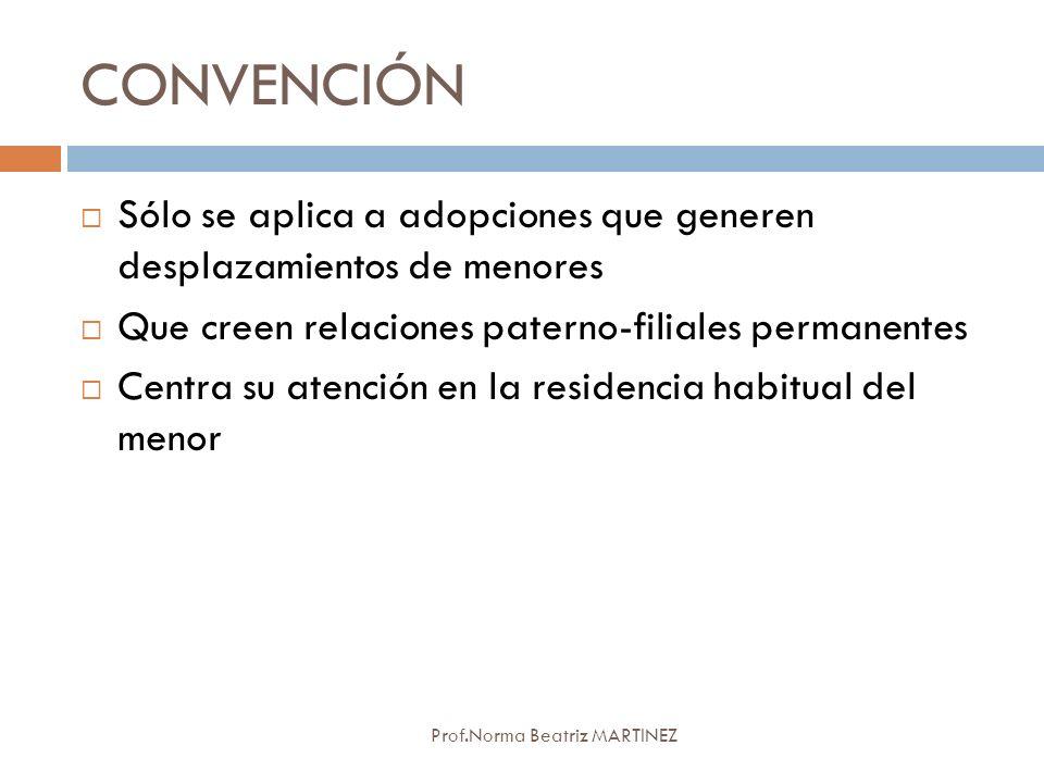 CONVENCIÓN Prof.Norma Beatriz MARTINEZ Sólo se aplica a adopciones que generen desplazamientos de menores Que creen relaciones paterno-filiales perman
