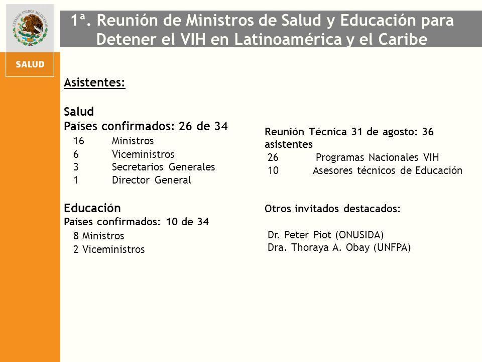 Asistentes: Salud Países confirmados: 26 de 34 16 Ministros 6 Viceministros 3 Secretarios Generales 1 Director General Educación Países confirmados: 1