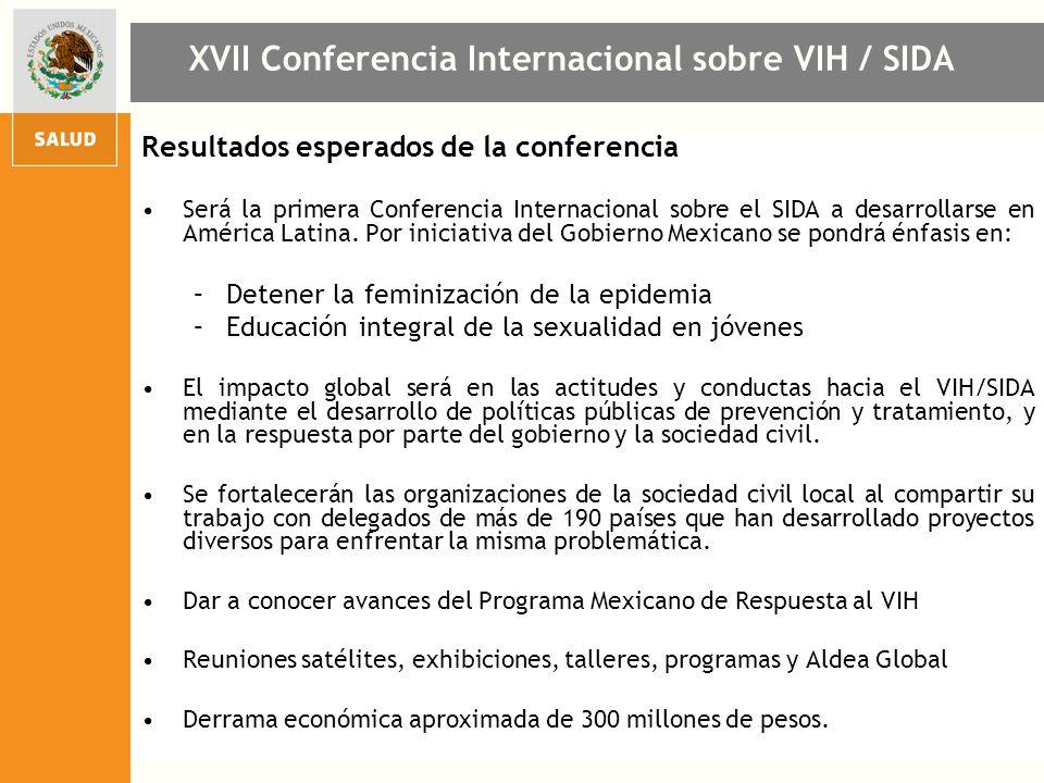 Resultados esperados de la conferencia Será la primera Conferencia Internacional sobre el SIDA a desarrollarse en América Latina. Por iniciativa del G