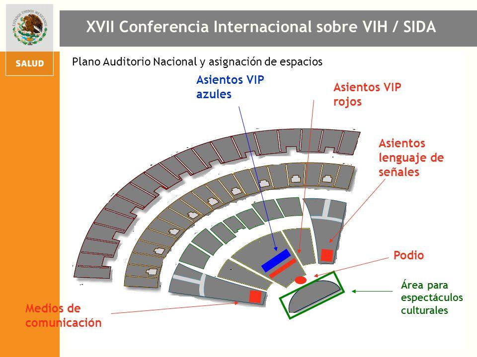 Plano Auditorio Nacional y asignación de espacios XVII Conferencia Internacional sobre VIH / SIDA Podio Área para espectáculos culturales Asientos VIP