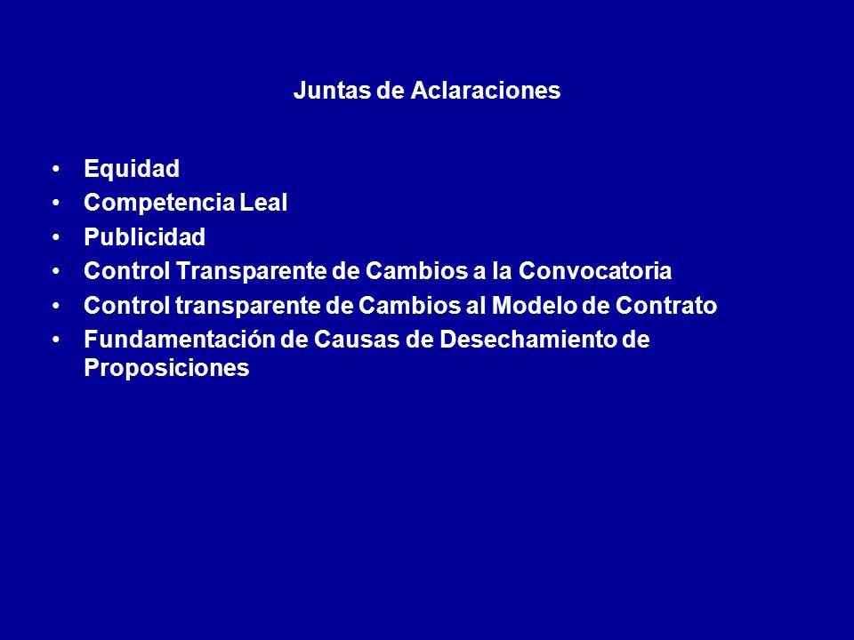 Juntas de Aclaraciones Equidad Competencia Leal Publicidad Control Transparente de Cambios a la Convocatoria Control transparente de Cambios al Modelo de Contrato Fundamentación de Causas de Desechamiento de Proposiciones