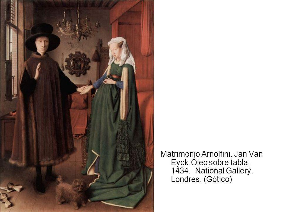 Matrimonio Arnolfini. Jan Van Eyck.Óleo sobre tabla. 1434. National Gallery. Londres. (Gótico)