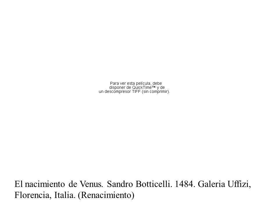 Temple El nacimiento de Venus. Sandro Botticelli. 1484. Galeria Uffizi, Florencia, Italia. (Renacimiento)