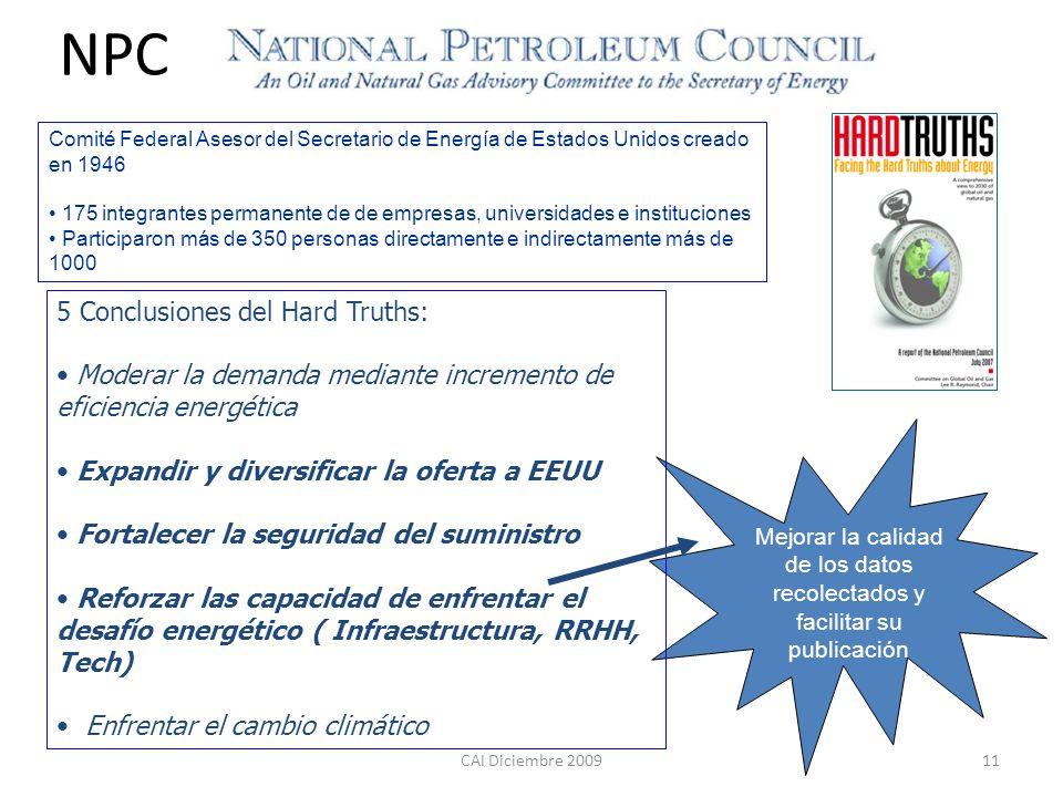 CAI Diciembre 200911 5 Conclusiones del Hard Truths: Moderar la demanda mediante incremento de eficiencia energética Expandir y diversificar la oferta