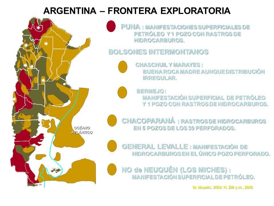 ARGENTINA – FRONTERA EXPLORATORIA OCÉANOATLÁNTICO PUNA : MANIFESTACIONES SUPERFICIALES DE PETRÓLEO Y 1 POZO CON RASTROS DE PETRÓLEO Y 1 POZO CON RASTR