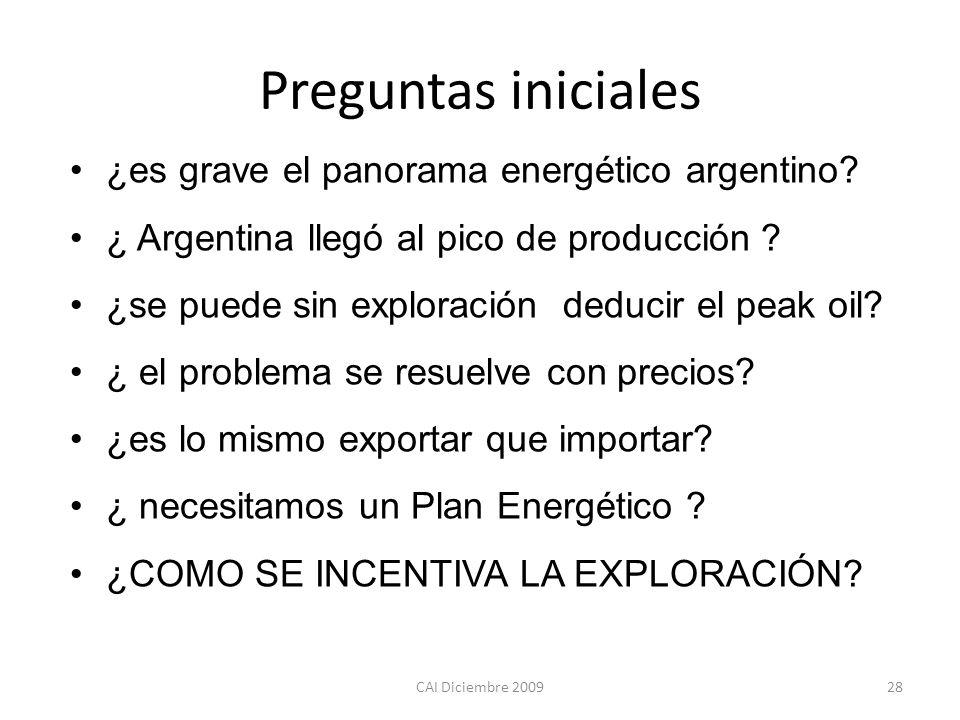 Preguntas iniciales CAI Diciembre 200928 ¿es grave el panorama energético argentino? ¿ Argentina llegó al pico de producción ? ¿se puede sin exploraci