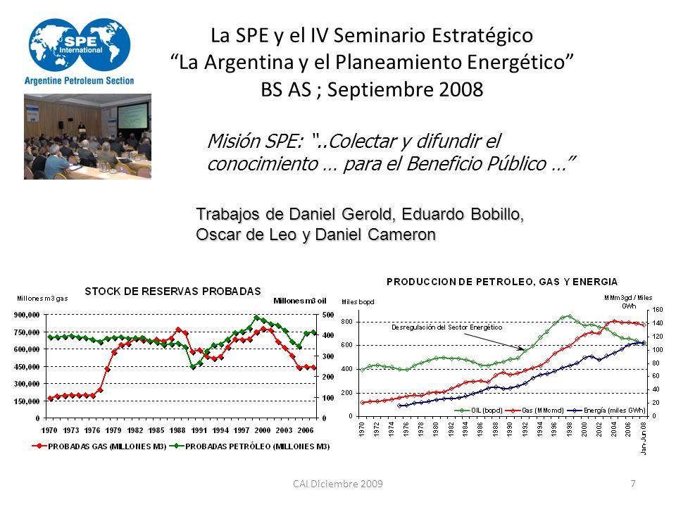 CAI Diciembre 20097 La SPE y el IV Seminario Estratégico La Argentina y el Planeamiento Energético BS AS ; Septiembre 2008 Misión SPE:..Colectar y dif