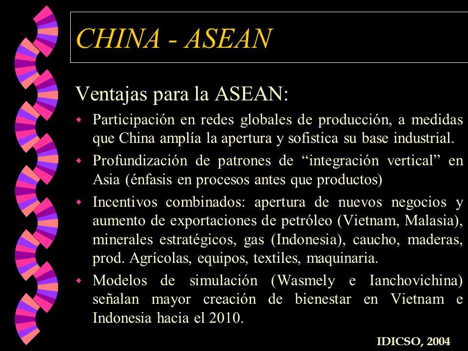 CHINA - ASEAN Ventajas para la ASEAN: w Participación en redes globales de producción, a medidas que China amplía la apertura y sofistica su base indu