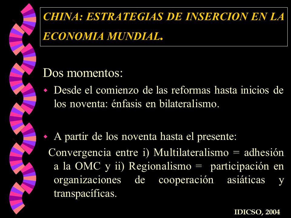 CHINA: ESTRATEGIAS DE INSERCION EN LA ECONOMIA MUNDIAL. Dos momentos: w Desde el comienzo de las reformas hasta inicios de los noventa: énfasis en bil