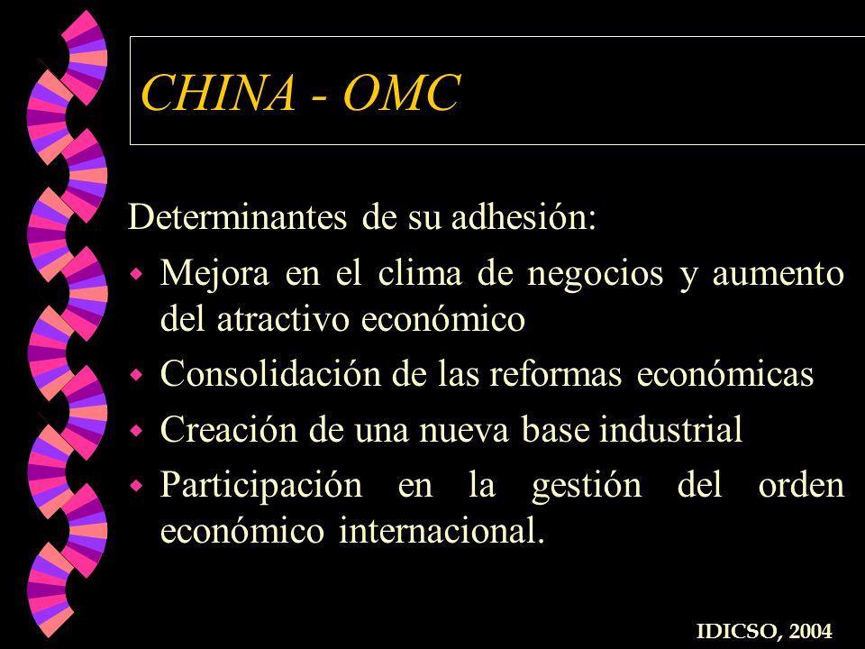 CHINA - OMC Determinantes de su adhesión: w Mejora en el clima de negocios y aumento del atractivo económico w Consolidación de las reformas económica