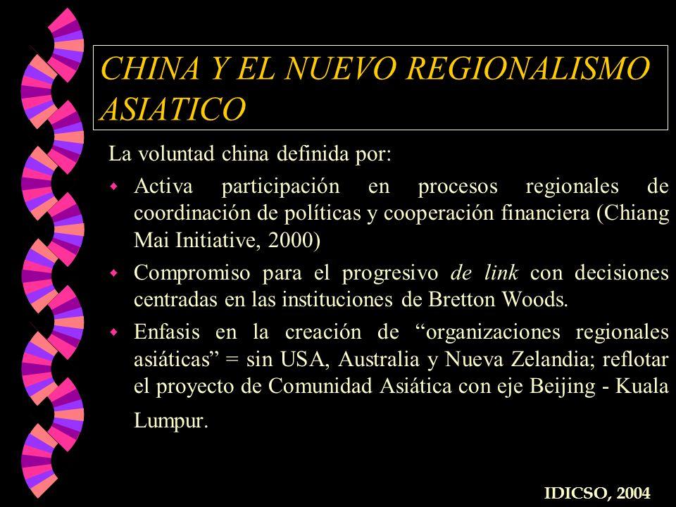 CHINA Y EL NUEVO REGIONALISMO ASIATICO La voluntad china definida por: w Activa participación en procesos regionales de coordinación de políticas y co
