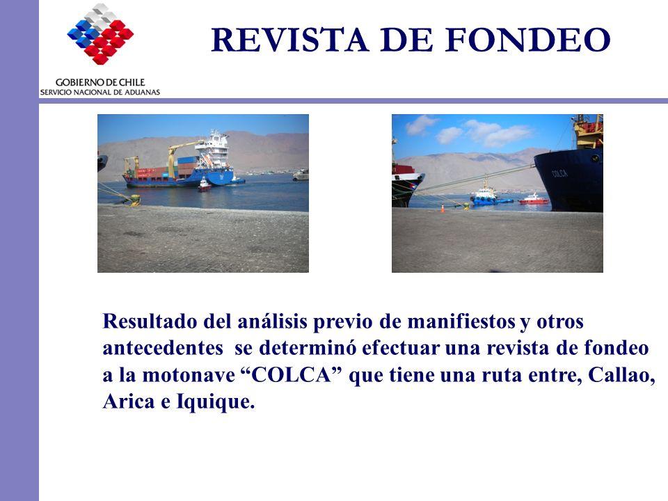 REVISTA DE FONDEO Resultado del análisis previo de manifiestos y otros antecedentes se determinó efectuar una revista de fondeo a la motonave COLCA qu