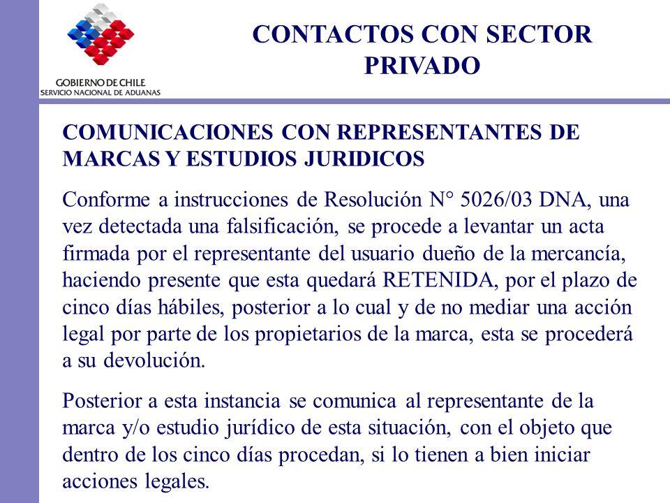CONTACTOS CON SECTOR PRIVADO COMUNICACIONES CON REPRESENTANTES DE MARCAS Y ESTUDIOS JURIDICOS Conforme a instrucciones de Resolución N° 5026/03 DNA, u