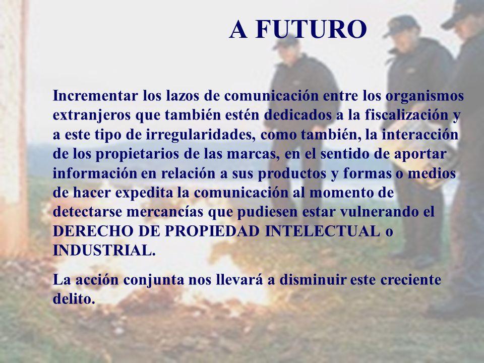 A FUTURO Incrementar los lazos de comunicación entre los organismos extranjeros que también estén dedicados a la fiscalización y a este tipo de irregu