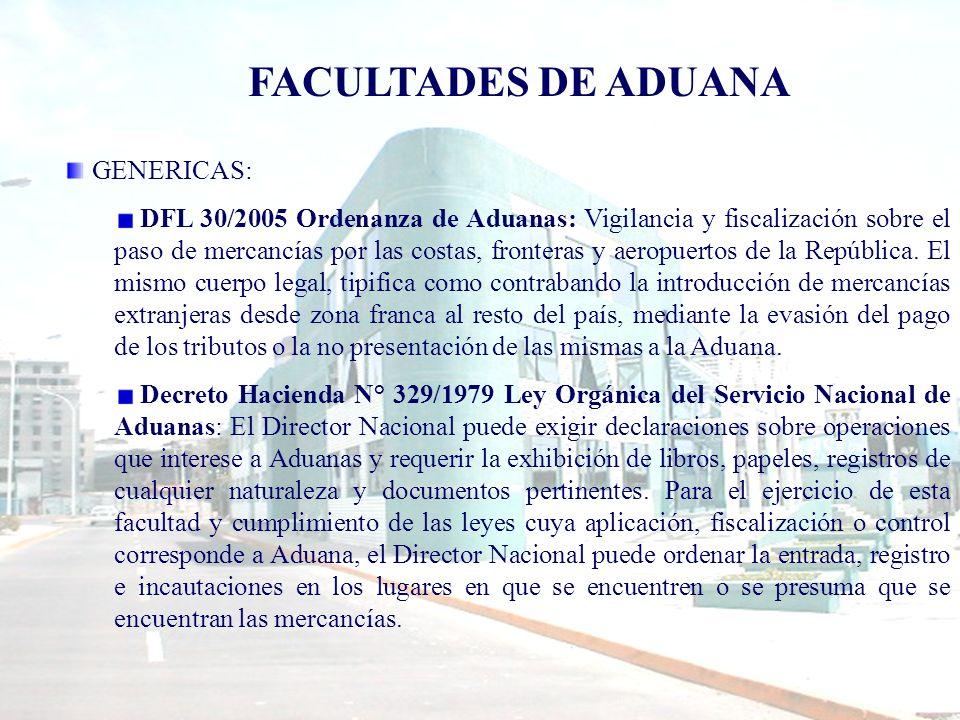 ESPECIFICAS: DFL 341/1977 sobre Zonas Francas: Faculta a la Aduana para dictar normas y procedimientos aplicables a la salida e ingreso de mercancías a zona franca, como también para la vigilancia y control de los accesos y límites de ella.