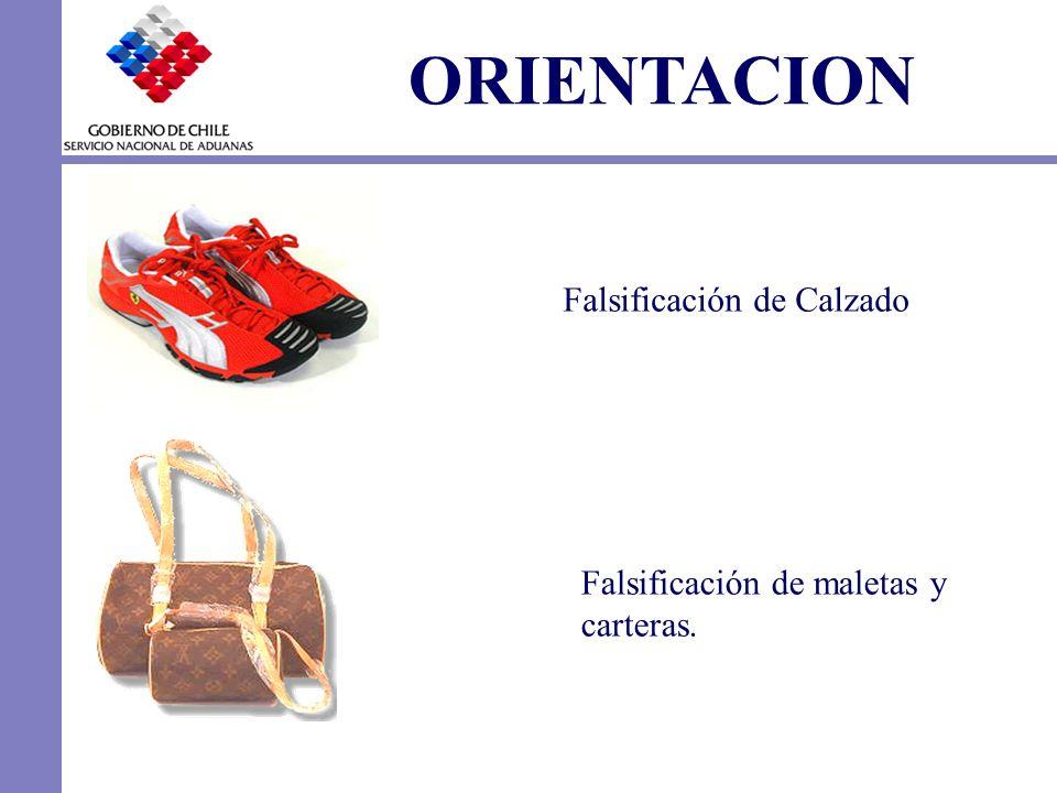 ORIENTACION Falsificación de Calzado Falsificación de maletas y carteras.