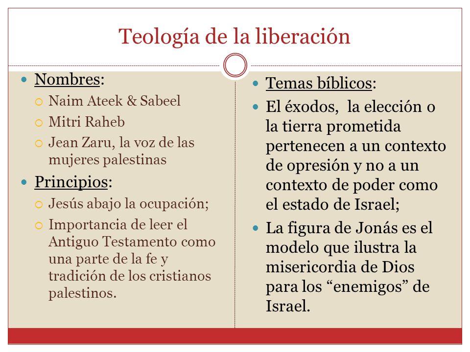 Teología de la liberación Nombres: Naim Ateek & Sabeel Mitri Raheb Jean Zaru, la voz de las mujeres palestinas Principios: Jesús abajo la ocupación; I