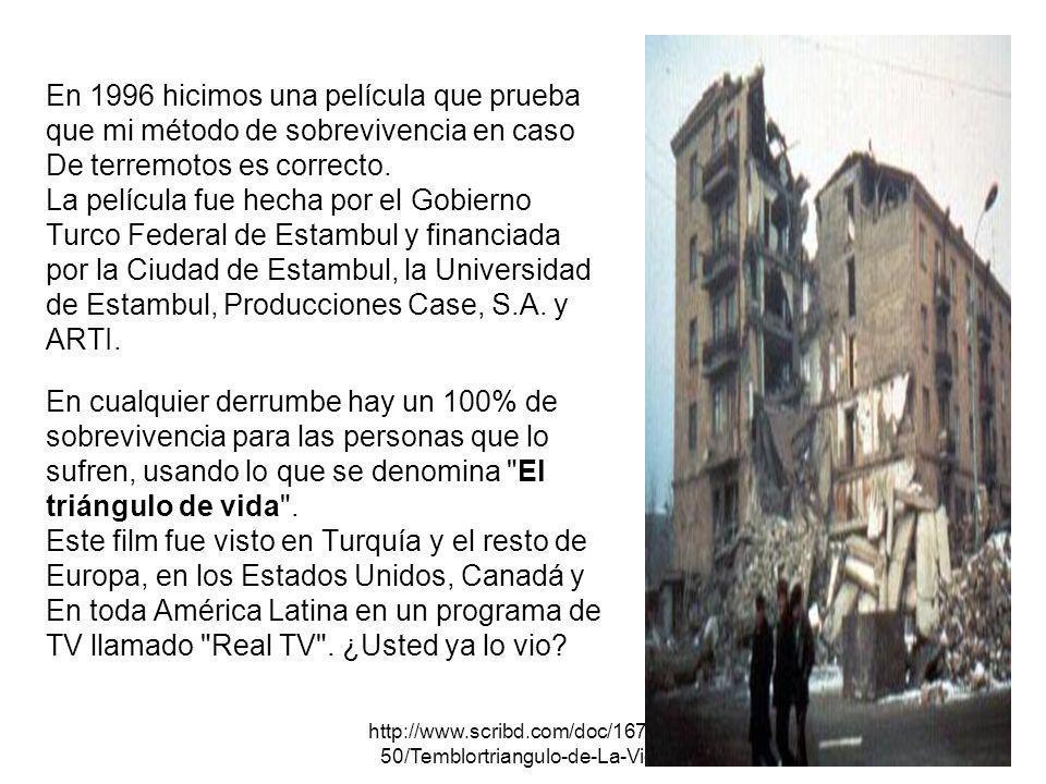 http://www.scribd.com/doc/167072 50/Temblortriangulo-de-La-Vida EDIFICIOS Colóquese cerca de las paredes exteriores de los edificios o bien fuera de ellos en lo posible.