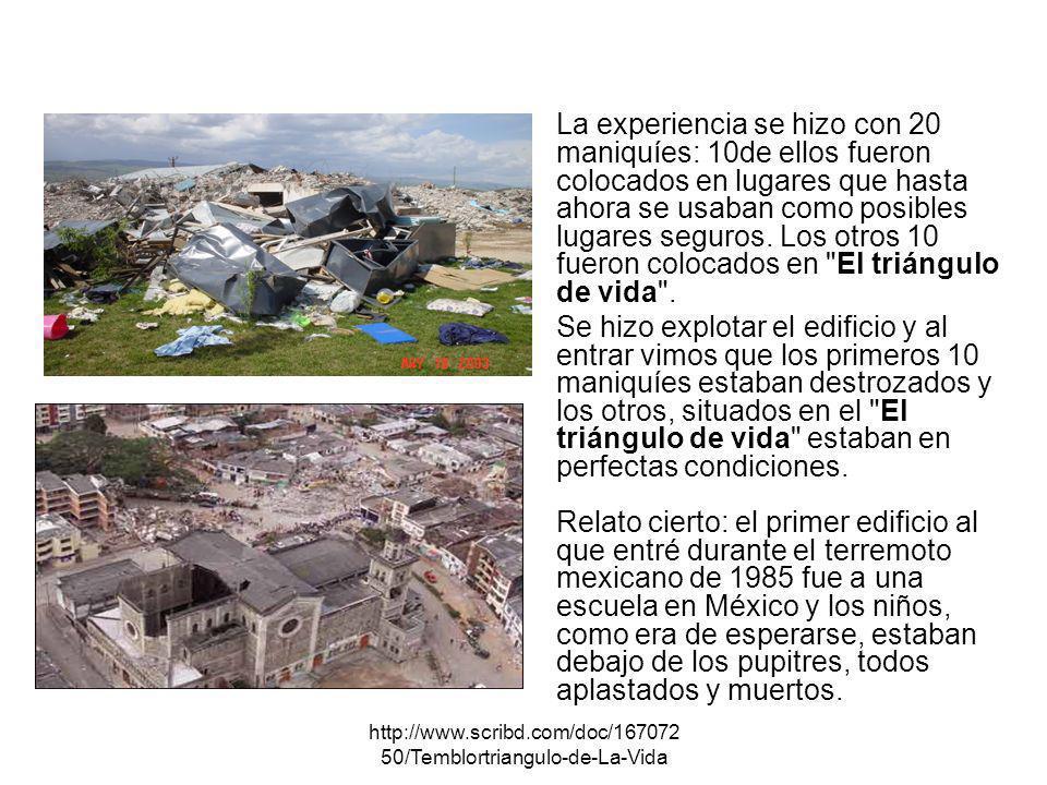 http://www.scribd.com/doc/167072 50/Temblortriangulo-de-La-Vida La experiencia se hizo con 20 maniquíes: 10de ellos fueron colocados en lugares que ha