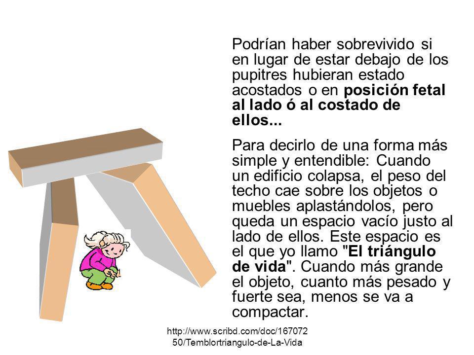 http://www.scribd.com/doc/167072 50/Temblortriangulo-de-La-Vida Cuanto menos el objeto se compacte por el peso, mayor es el espacio vacío o agujero al lado del mismo, mayor es la posibilidad de que la persona que está usando ese espacio vacío no sea lastimada en lo absoluto.