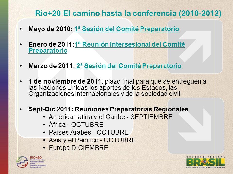 Rio+20 El camino hasta la conferencia (2010-2012) Mayo de 2010: 1ª Sesión del Comité Preparatorio1ª Sesión del Comité Preparatorio Enero de 2011:1ª Re