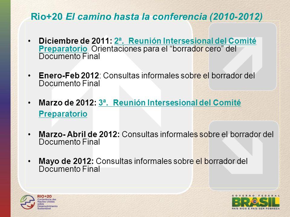 Rio+20 El camino hasta la conferencia (2010-2012) Diciembre de 2011: 2ª. Reunión Intersesional del Comité Preparatorio Orientaciones para el borrador