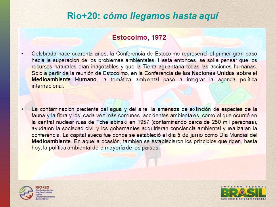 Rio+20: cómo llegamos hasta aquí Rio - 92 En 1992, la Conferencia de las Naciones Unidas sobre Medioambiente y Desarrollo, o Rio92, había sido el mayor acontecimiento realizado hasta entonces en el ámbito de las Naciones Unidas.