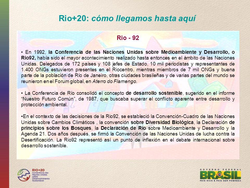 Rio+20: cómo llegamos hasta aquí Rio +10 Las Naciones Unidas decidieron celebrar, en 2002, en Sudáfrica, una Conferencia que marcara los diez años de la Rio92, que analizara los resultados alcanzados y que indicara el camino que se debería seguir con vistas al cumplimiento de los compromisos.