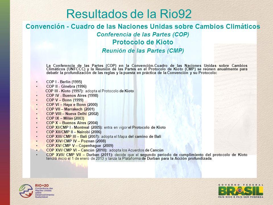 La Conferencia de las Partes (COP) en la Convención-Cuadro de las Naciones Unidas sobre Cambios Climáticos (UNFCCC) y la Reunión de las Partes en el P