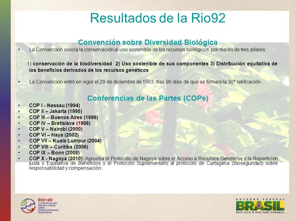 Resultados de la Rio92 Declaración de Río Definió principios importantes para promover la cooperación entre países y entre segmentos de la sociedad, y para que se llegue a un mejor acuerdo sobre el desarrollo sostenible y sus interfaces con temas como la participación de minorías y la promoción de la paz.