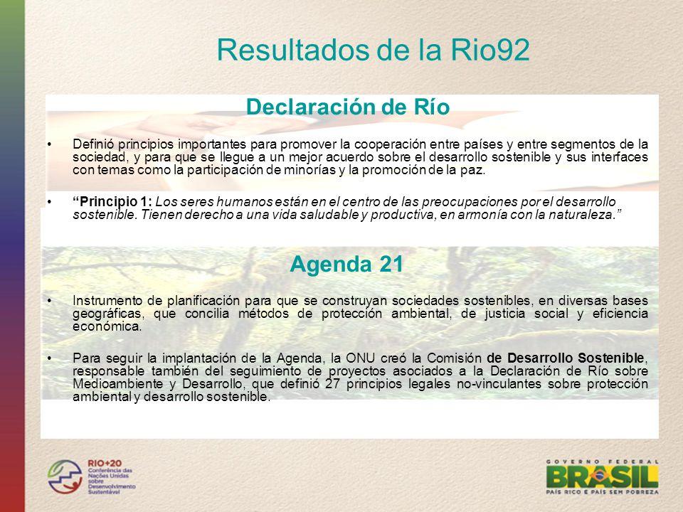 Resultados de la Rio92 Declaración de Río Definió principios importantes para promover la cooperación entre países y entre segmentos de la sociedad, y