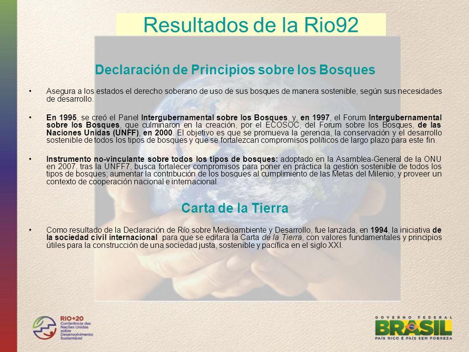 Resultados de la Rio92 Declaración de Principios sobre los Bosques Asegura a los estados el derecho soberano de uso de sus bosques de manera sostenibl