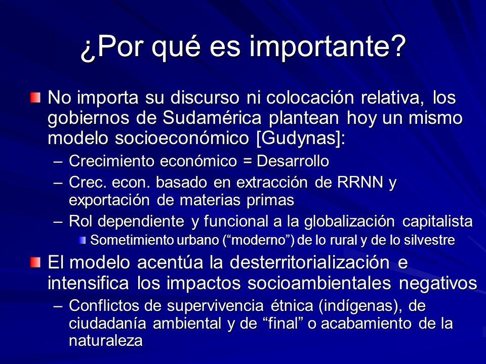 ¿Por qué es importante? No importa su discurso ni colocación relativa, los gobiernos de Sudamérica plantean hoy un mismo modelo socioeconómico [Gudyna