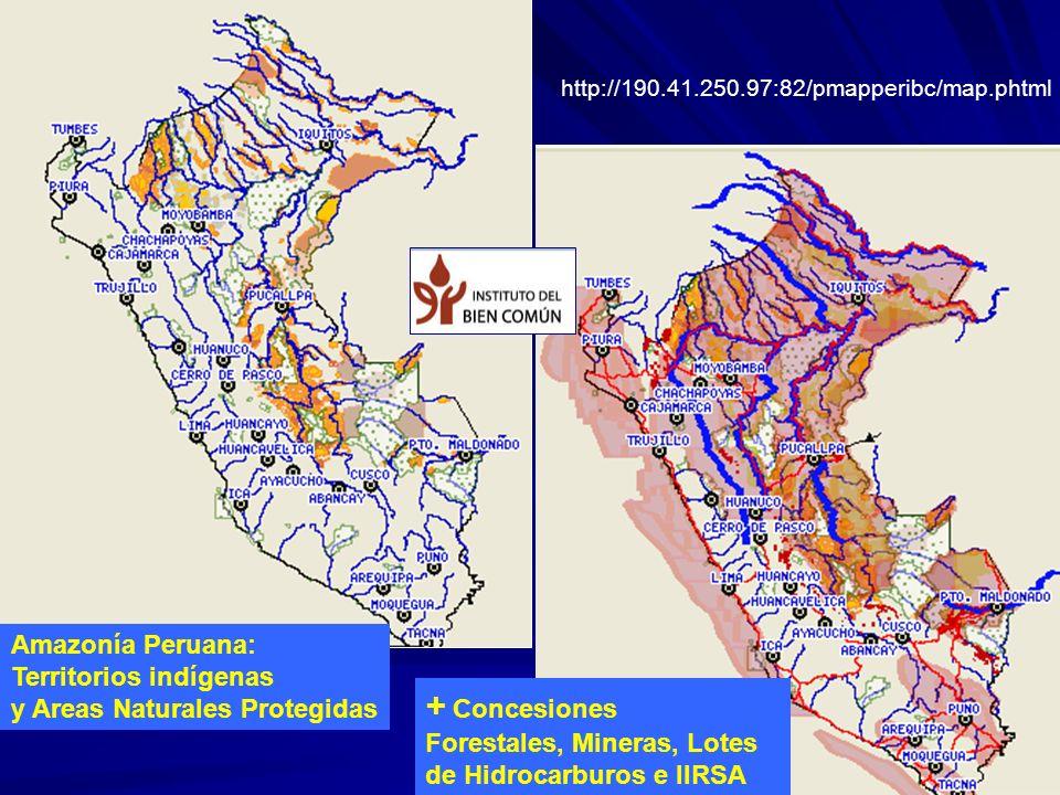 Amazonía Peruana: Territorios indígenas y Areas Naturales Protegidas + Concesiones Forestales, Mineras, Lotes de Hidrocarburos e IIRSA http://190.41.2