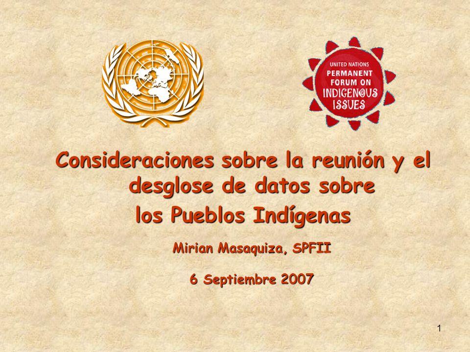 Consideraciones sobre la reunión y el desglose de datos sobre los Pueblos Indígenas Mirian Masaquiza, SPFII 6 Septiembre 2007 1