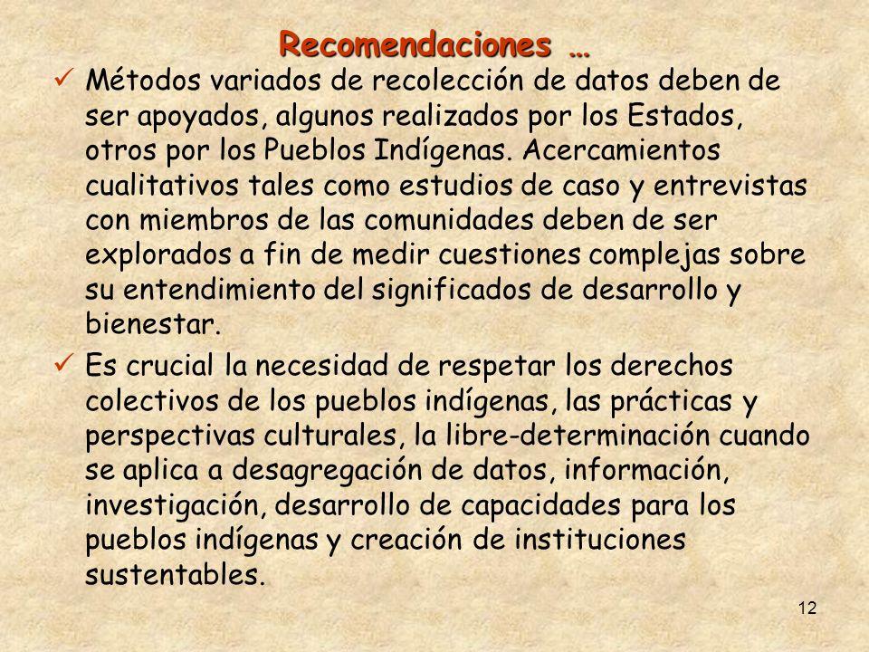 12 Recomendaciones … Métodos variados de recolección de datos deben de ser apoyados, algunos realizados por los Estados, otros por los Pueblos Indígen