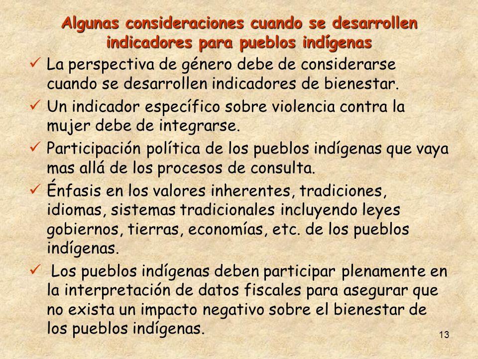 13 Algunas consideraciones cuando se desarrollen indicadores para pueblos indígenas La perspectiva de género debe de considerarse cuando se desarrollen indicadores de bienestar.