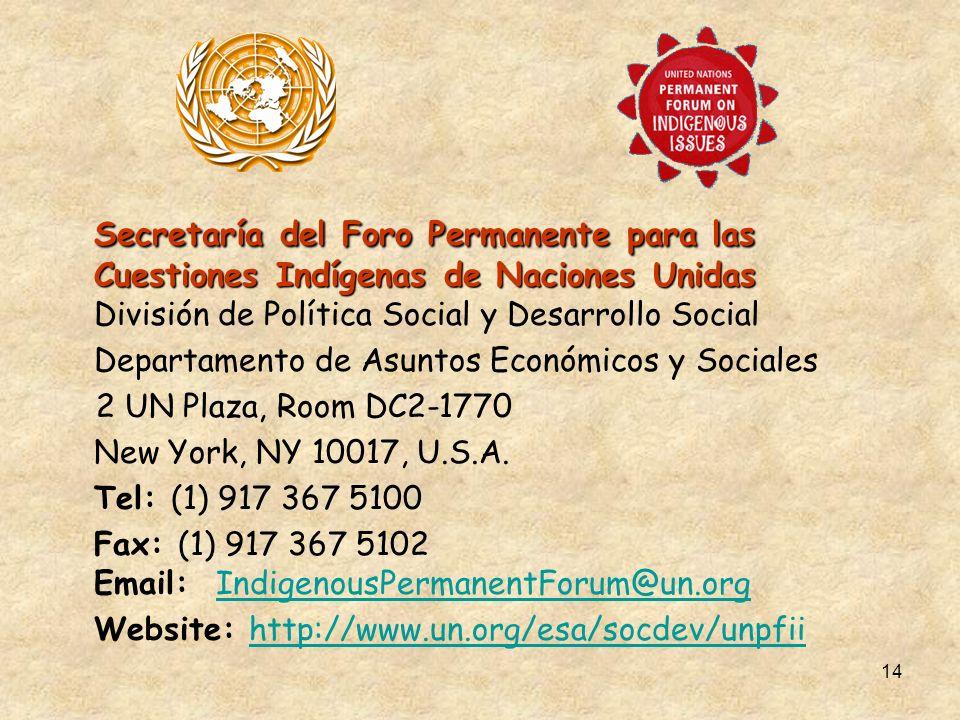 14 Secretaría del Foro Permanente para las Cuestiones Indígenas de Naciones Unidas Secretaría del Foro Permanente para las Cuestiones Indígenas de Naciones Unidas División de Política Social y Desarrollo Social Departamento de Asuntos Económicos y Sociales 2 UN Plaza, Room DC2-1770 New York, NY 10017, U.S.A.