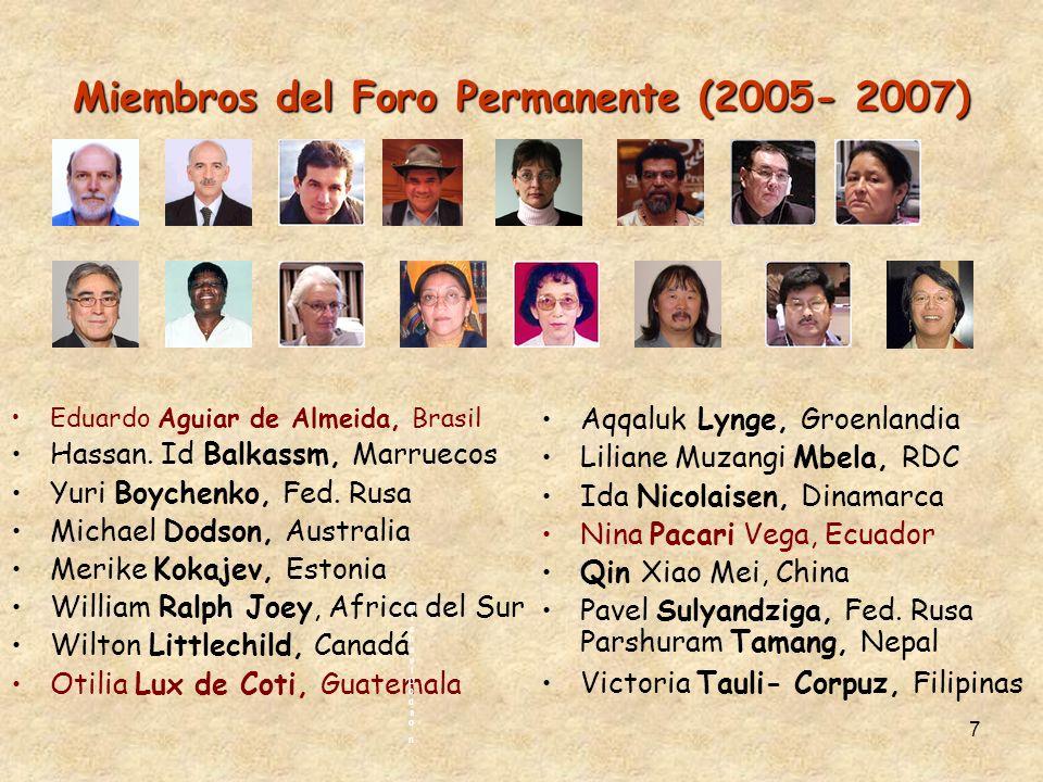 7 Miembros del Foro Permanente(2005- 2007) Miembros del Foro Permanente (2005- 2007) Eduardo Aguiar de Almeida, Brasil Hassan. Id Balkassm, Marruecos