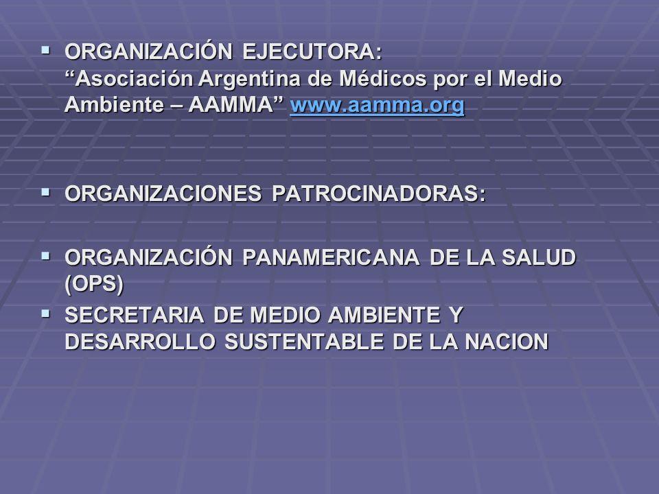 ORGANIZACIÓN EJECUTORA: Asociación Argentina de Médicos por el Medio Ambiente – AAMMA www.aamma.org ORGANIZACIÓN EJECUTORA: Asociación Argentina de Mé