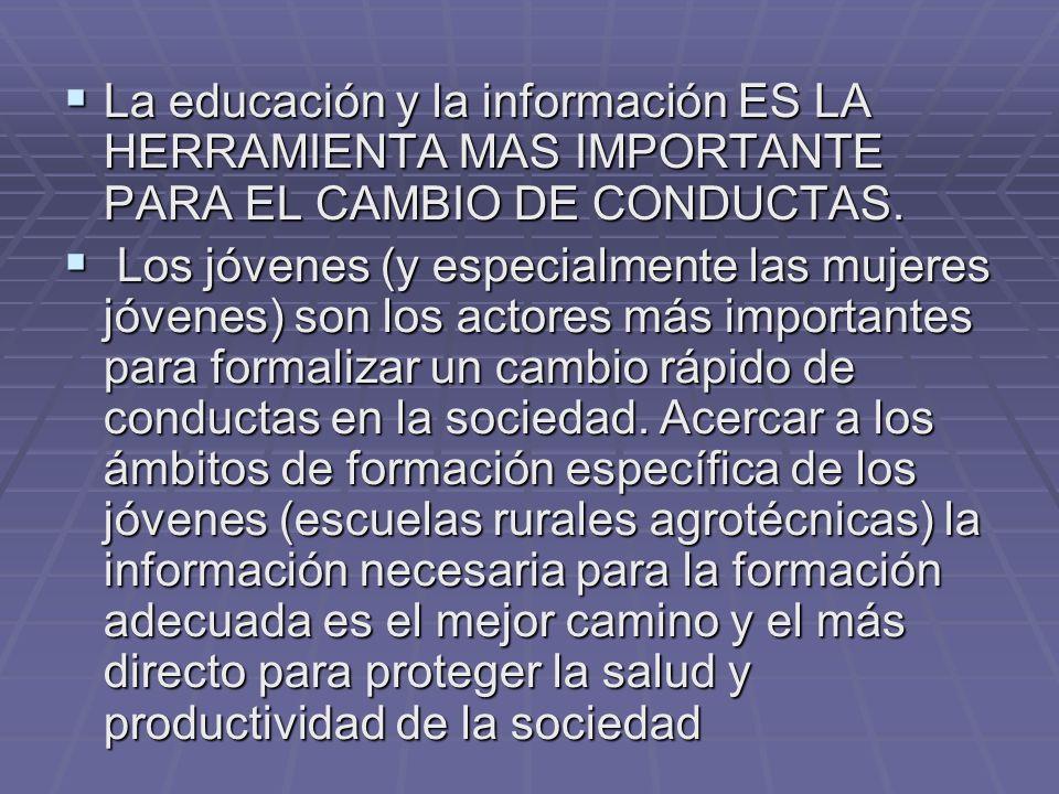 La educación y la información ES LA HERRAMIENTA MAS IMPORTANTE PARA EL CAMBIO DE CONDUCTAS. La educación y la información ES LA HERRAMIENTA MAS IMPORT